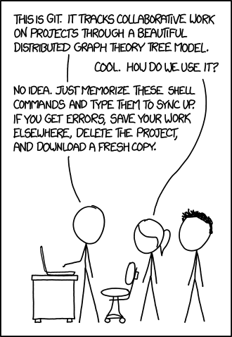 Funny joke by xkcd about git versioning system